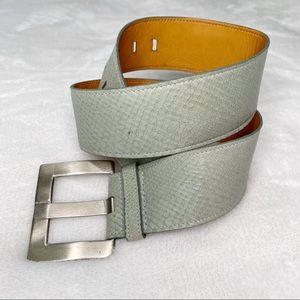 TRAFALGAR Gray snake printed Leather Belt. Size S